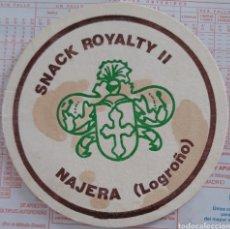 Coleccionismo Papel Varios: POSAVASOS SNACK ROYALTY II DE NAJERA LA RIOJA. Lote 194937543
