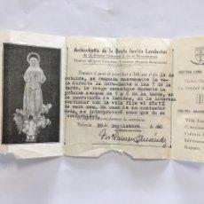 Coleccionismo Papel Varios: ARCHICOFRADIA DE LA BEATA IMELDA. TEMPLO S. VICENTE FERRER. VALENCIA.. Lote 194945917