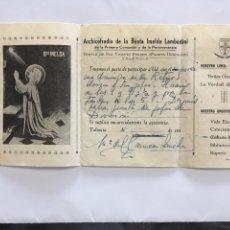 Coleccionismo Papel Varios: ARCHICOFRADIA DE LA BEATA IMELDA LAMBERTINI. NOTIFICACIÓN. VALENCIA. H. 1950?.. Lote 194947218