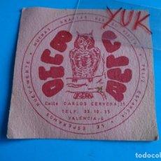 Coleccionismo Papel Varios: POSAVASOS DEL CLUB BUHO ( VALENCIA ) --- AÑOS 70 --- CALLE CARLOS CERVERA Nº 25. Lote 194951262
