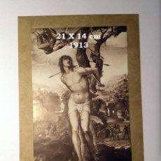 Coleccionismo Papel Varios: CROMO SOBRE CARTULINA - LITOGRAFIA DE LA PINTURA DER HEILIGE SEBASTIAN - AÑO 1913 - 21X14 CM. Lote 194982371