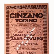 Coleccionismo Papel Varios: CINZANO TORINO - AÑO 1913 - 24 X 15 CM. Lote 194983507