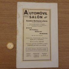 Coleccionismo Papel Varios: CATALOGO SALÓN AUTOMÓVIL BERTRAND Y SERRA. Lote 195056772