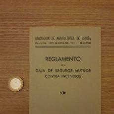 Coleccionismo Papel Varios: REGLAMENTO SEGUROS MUTUOS CONTRA INCENDIOS. Lote 195057456