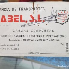 Coleccionismo Papel Varios: TARJETA COMERCIAL AGENCIA TRANSPORTES BABEL ALICANTE. Lote 195062623