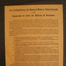 Coleccionismo Papel Varios: GUERRA CIVIL-PANFLETO-U.H.P-TRABAJADORES GENERAL MOTORS COLECTIVIZADA-BARCELONA-VER FOTOS-(V-19.133). Lote 195141576