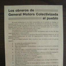 Coleccionismo Papel Varios: GUERRA CIVIL-PANFLETO-U.H.P-OBREROS GENERAL MOTORS COLECTIVIZADA-BARCELONA-VER FOTOS-(V-19.134). Lote 195141620