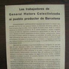Coleccionismo Papel Varios: GUERRA CIVIL-PANFLETO-U.H.P-TRABAJADORES GENERAL MOTORS COLECTIVIZADA-BARCELONA-VER FOTOS-(V-19.135). Lote 195141650