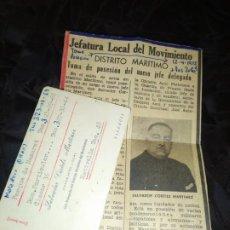 Coleccionismo Papel Varios: PRENSA JEFATURA LOCAL MOVIMIENTO POSESIÓN JEFE DELEGADO SALVADOR CORTILS MARTÍNEZ 1972 TARJETA. Lote 195153627