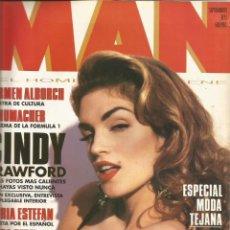 Coleccionismo Papel Varios: CINDY CRAWFORD - REVISTA MAN 1993 - ONLY COVER - 1 HOJA . Lote 195191503