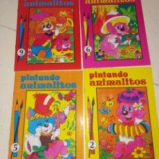 Coleccionismo Papel Varios: LOTE 4 CUADERNOS DE PINTANDO ANIMALITOS NO. 2, 5, 6 Y 9 - (ÁLBUMES PARA COLOREAR SUSAETA). 1985. Lote 195239855