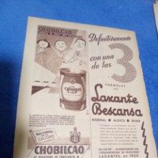 Coleccionismo Papel Varios: RECORTE PRENSA PUBLICIDAD CHOBILCAO Y LAXANTE BESCANSA. Lote 195245911