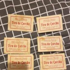 Coleccionismo Papel Varios: LOTE 6 ANTIGUOS TICKETS TIRO DE CORCHO DE FERIA. Lote 195299906