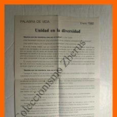 Coleccionismo Papel Varios: PALABRA DE VIDA - ENERO 1981 - UNIDAD EN LA DIVERSIDAD, CHIARA LUBICH. Lote 195329840