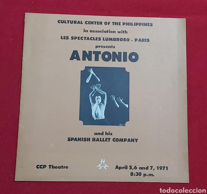 PROGRAMA ANTONIO AND HIS SPANISH BALLET COMPANY. CULTURAL CENTER OF THE PHILIPPINES (Coleccionismo en Papel - Varios)