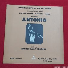 Coleccionismo Papel Varios: PROGRAMA ANTONIO AND HIS SPANISH BALLET COMPANY. CULTURAL CENTER OF THE PHILIPPINES. Lote 195336703
