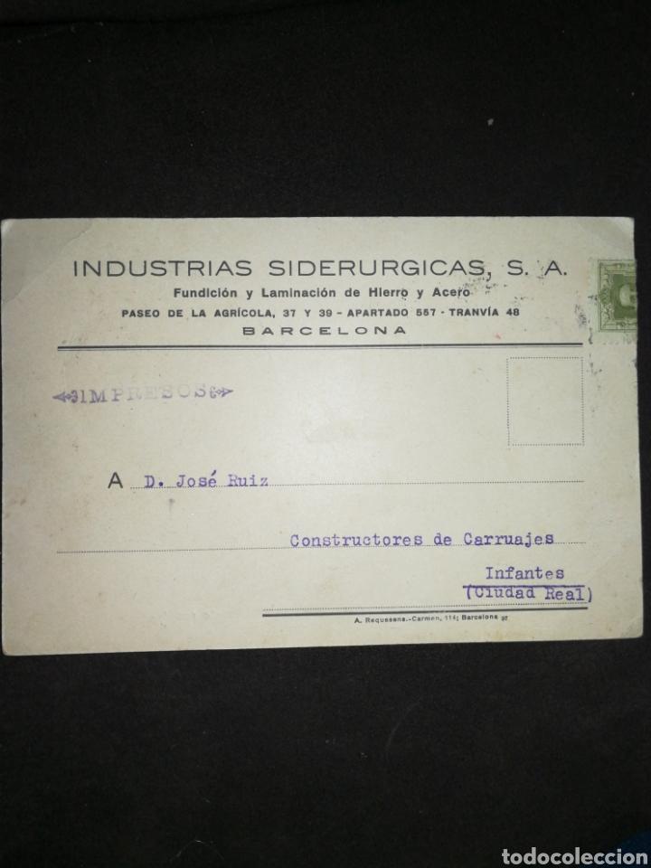 Coleccionismo Papel Varios: ANTIGUA TARJETA COMERCIAL INDUSTRIAS SIDERÚRGICAS BARCELONA. - Foto 2 - 195343213