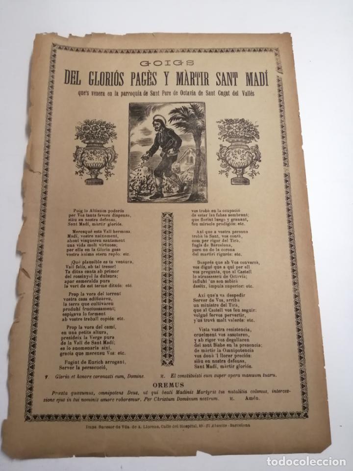 GOIGS DEL GLORIÓS PAGÈS Y MÀRTIR SANT MADÍ. BARCELONA S. XX. IM.: SUCESOR DE VDA. DE A. LLORENS (Coleccionismo en Papel - Varios)