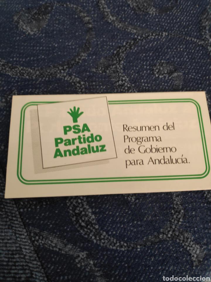 Coleccionismo Papel Varios: Folleto - PSA - Resumen del programa de gobierno para Andalucía - El partido andaluz al Parlamento - Foto 2 - 195381607