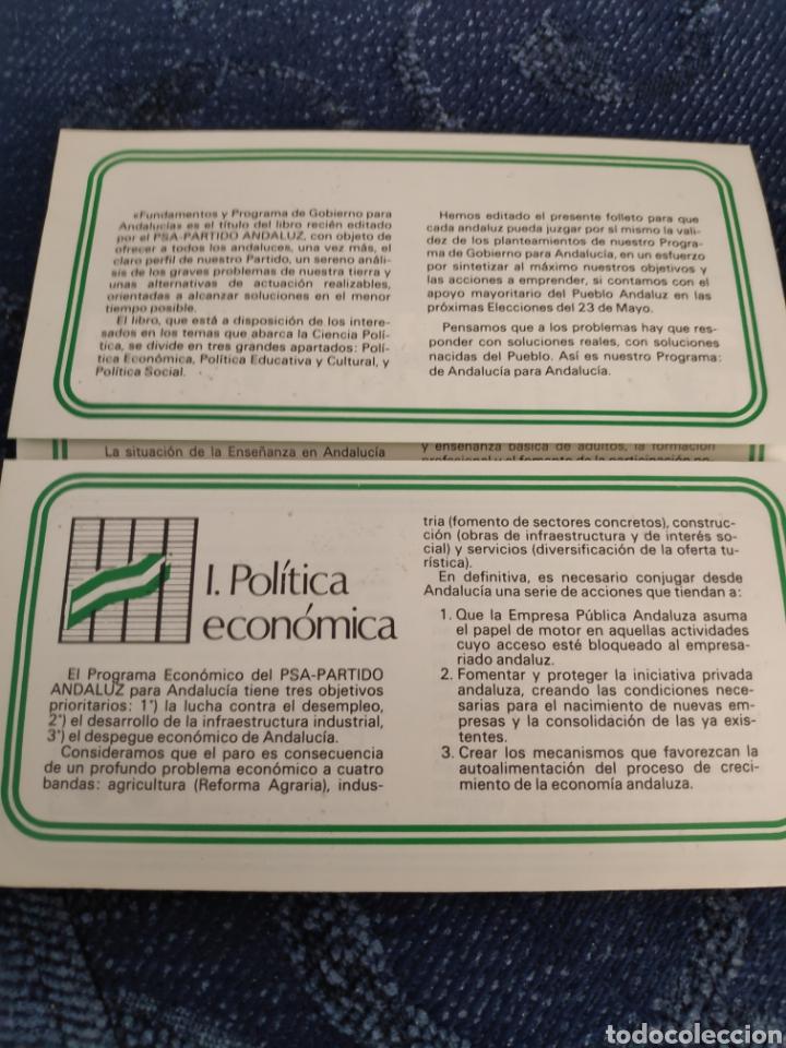 Coleccionismo Papel Varios: Folleto - PSA - Resumen del programa de gobierno para Andalucía - El partido andaluz al Parlamento - Foto 3 - 195381607