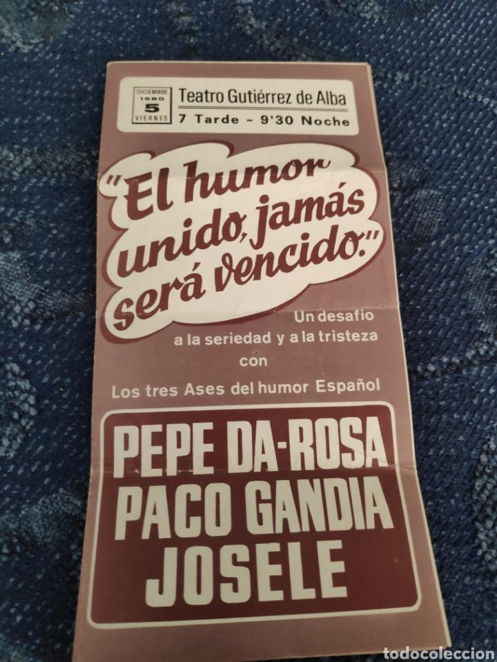 FOLLETO ACTUACIÓN PACO GANDÍA, JOSELE Y PEPE DA ROSA EN ALCALÁ DE GUADAIRA (Coleccionismo en Papel - Varios)