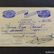 Coleccionismo Papel Varios: EL CINE FAMILIAR-TARJETA DE ALQUILER DE PELICULAS-AÑOS 50-VER FOTOS-(68.343). Lote 195881933