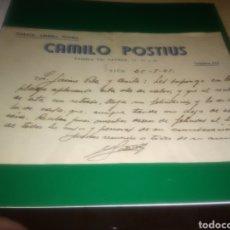 Coleccionismo Papel Varios: DOCUMENTO CARTA MANUSCRITA DE 1941. CAMILO POSTIUS. GARAGE. ARMERÍA PLANELLS. VICH ( BARCELONA).. Lote 196002317