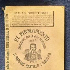Collectionnisme Papier divers: EL FIRMAMENTO CALENDARIO ZARAGOZANO CON GUIA MADRID 1924 POR MARIANO CASTILLO Y OSCIERO 11X8CMS. Lote 196452891