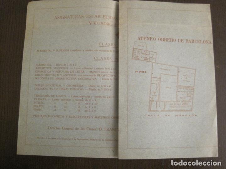 Coleccionismo Papel Varios: ATENEO OBRERO DE BARCELONA-CURSO DE 1928 1929-VER FOTOS-(V-19.382) - Foto 3 - 196803226