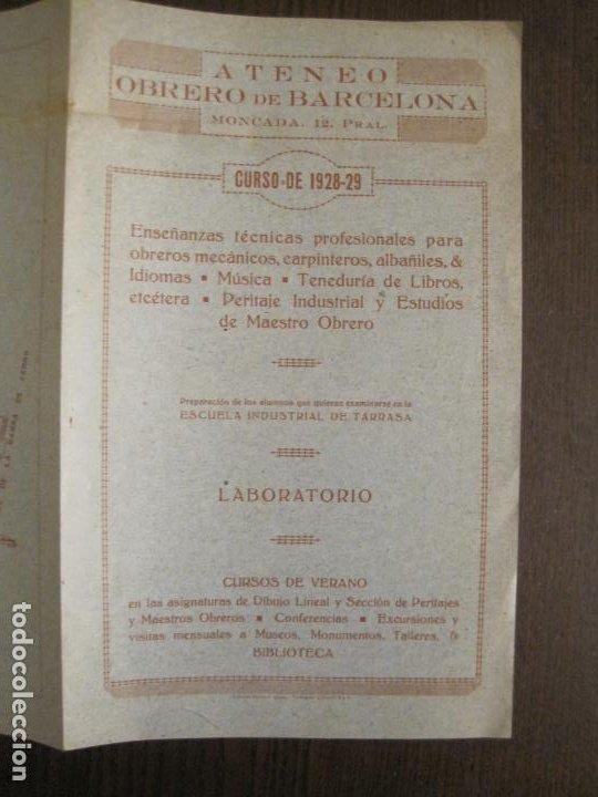 Coleccionismo Papel Varios: ATENEO OBRERO DE BARCELONA-CURSO DE 1928 1929-VER FOTOS-(V-19.382) - Foto 6 - 196803226