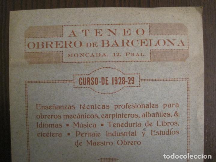 ATENEO OBRERO DE BARCELONA-CURSO DE 1928 1929-VER FOTOS-(V-19.382) (Coleccionismo en Papel - Varios)