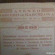 Coleccionismo Papel Varios: ATENEO OBRERO DE BARCELONA-CURSO DE 1928 1929-VER FOTOS-(V-19.382). Lote 196803226