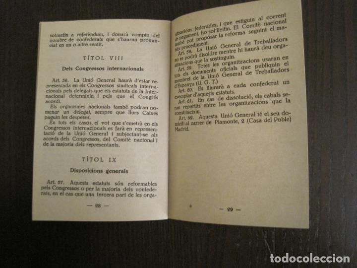 Coleccionismo Papel Varios: UGT-ESTATUTS DE LA UNIO GENERAL DE TREBALLADOR-ANY 1932-VER FOTOS-(V-19.394) - Foto 11 - 196805175