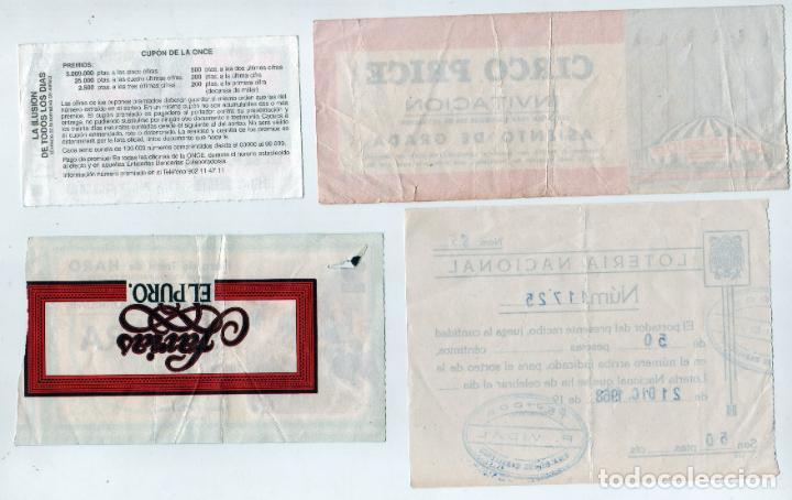 Coleccionismo Papel Varios: Lote diverso lotería Nacional, Once, entrada circo Price y toros de Haro. AÑos 1968-99 - Foto 2 - 197258227