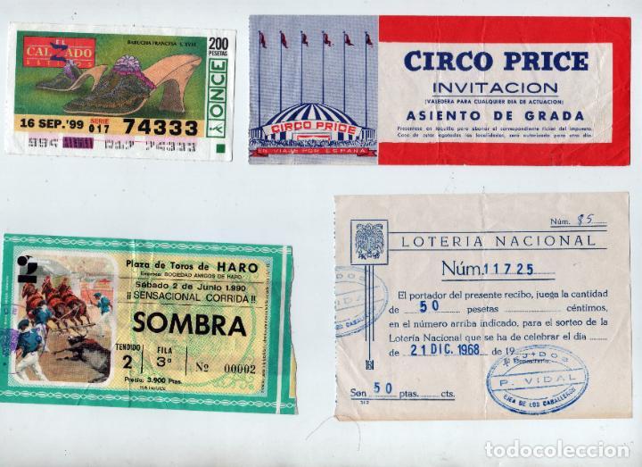 LOTE DIVERSO LOTERÍA NACIONAL, ONCE, ENTRADA CIRCO PRICE Y TOROS DE HARO. AÑOS 1968-99 (Coleccionismo en Papel - Varios)