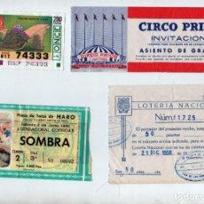 Coleccionismo Papel Varios: LOTE DIVERSO LOTERÍA NACIONAL, ONCE, ENTRADA CIRCO PRICE Y TOROS DE HARO. AÑOS 1968-99. Lote 197258227
