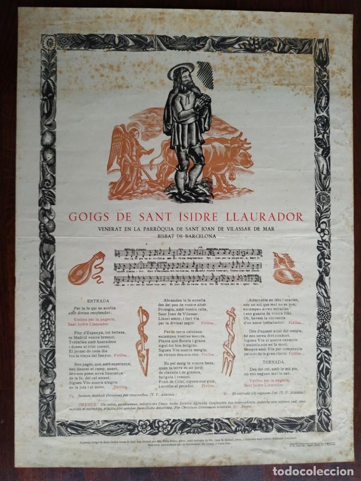 GOIGS GOZO DE SANT ISIDRE LLAURADOR VENERAT EN LA PARROQUIA DE SANT JOAN DE VILASSAR INICIS SEGLE XX (Coleccionismo en Papel - Varios)