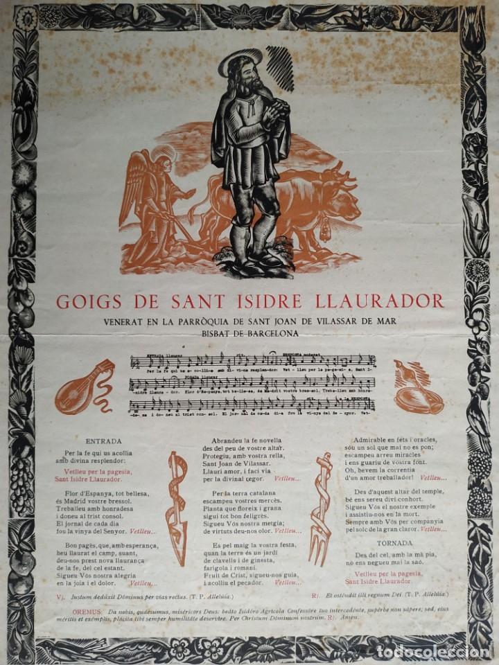 Coleccionismo Papel Varios: Goigs Gozo de Sant Isidre Llaurador venerat en la parroquia de Sant Joan de Vilassar inicis segle XX - Foto 2 - 197274041