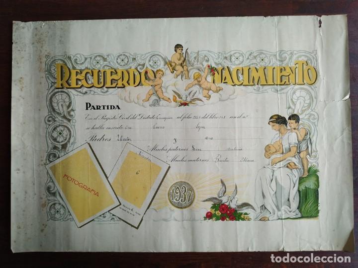 ANTIGUO DIPLOMA LITOGRAFICO RECUERDO DEL NACIMIENTO EN EL AÑO 1937 (Coleccionismo en Papel - Varios)