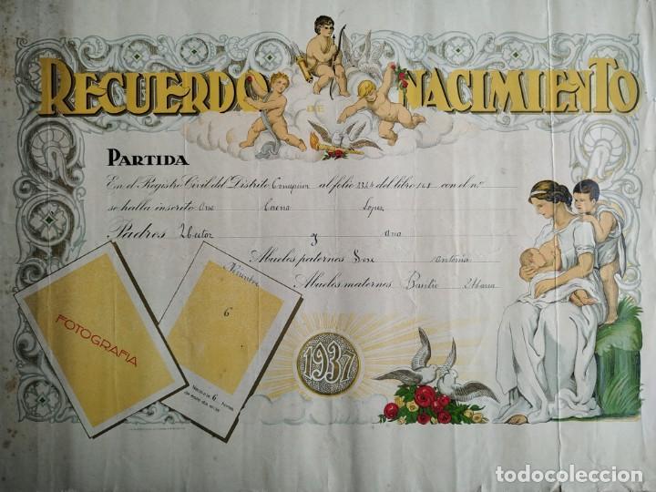 Coleccionismo Papel Varios: ANTIGUO diploma LITOGRAFICO RECUERDO DEL NACIMIENTO EN EL AÑO 1937 - Foto 2 - 197284160