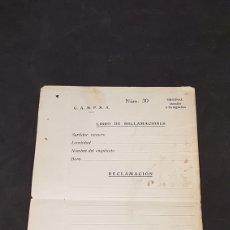 Coleccionismo Papel Varios: HOJA DE RECLAMACIÓN DE LOS AÑOS 20 DE C.A.M.P.S.A.. Lote 197667581