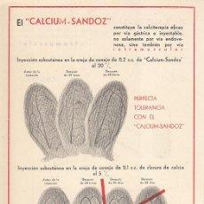 Coleccionismo Papel Varios: PUBLICIDAD FARMACEUTICA. CALCIUM SANDOZ. Lote 198185813