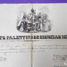 Coleccionismo Papel Varios: INSTITUTO PALENTINO DE CIENCIAS MEDICAS - 1852 - DIPLOMA. Lote 199156451