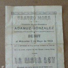Coleccionismo Papel Varios: DIPTICO. ANTIGUO PROGRAMA DE TEATRO MORA. HUELVA. 2-5-1923. 16 X 21 CM PLEGADO.. Lote 199279516