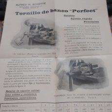 Coleccionismo Papel Varios: PUBLICIDAD TORNILLO DE BANCO PERFECT.. Lote 199383195
