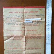 Coleccionismo Papel Varios: CONTRATO DE TRABAJO EVENTUAL MODELO B RENFE ALMUDEVAR AÑOS 50. Lote 199764836