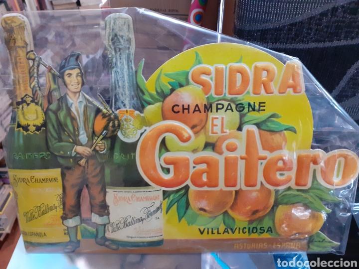 CARTEL DE CARTÓN PIEDRA SIDRA EL GAITERO ,AÑOS 50-60,EN PERFECTAS CONDICIONES ORIGINAL (Coleccionismo en Papel - Varios)
