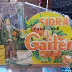 Coleccionismo Papel Varios: CARTEL DE CARTÓN PIEDRA SIDRA EL GAITERO ,AÑOS 50-60,EN PERFECTAS CONDICIONES ORIGINAL. Lote 200355065