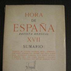 Coleccionismo Papel Varios: GUERRA CIVIL-HORA DE ESPAÑA-MAYO 1938-REVISTA XVII-ANTONIO MACHADO,ZAMBRANO...-VER FOTOS-(V-19.547). Lote 201323867