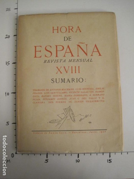Coleccionismo Papel Varios: GUERRA CIVIL-HORA DE ESPAÑA-JUNIO 1938-REVISTA XVIII-ANTONIO MACHADO,CERNUDA...-VER FOTOS-(V-19.548) - Foto 16 - 201324091